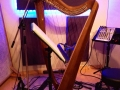 Rebecca's harp at Blue Light Studios